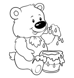 Cute bear with honey - eps 10 vector