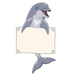 dolphin with banner vector image vector image