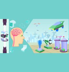 Future high-tech horizontal banner cartoon style vector