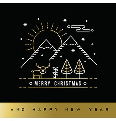 Gold christmas new year outline winter forest card vector