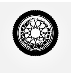 Grunge motorcycle wheel vector image vector image