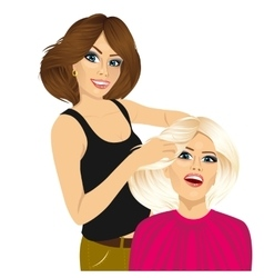 hairdresser working cutting long hair vector image