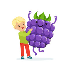 Happy boy having fun with fresh smiling blackberry vector
