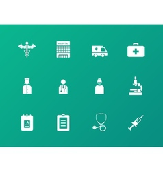 Hospital icons on green background vector image vector image