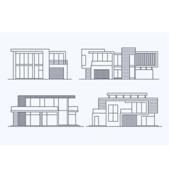 Houses linear 8 vector image