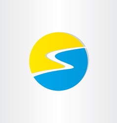 letter s summer beach and sun icon vector image