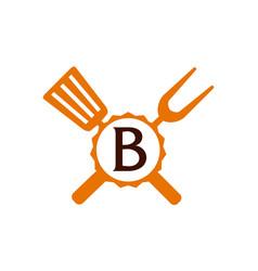 Logo restaurant letter b vector