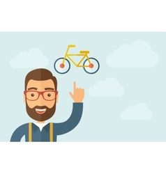 Man pointing the bicycle icon vector