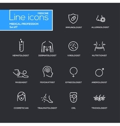 Medical profession simple thin line design icons vector image