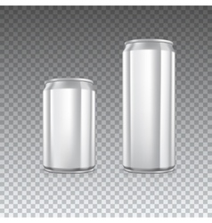 Metal cans on transparent vector image vector image