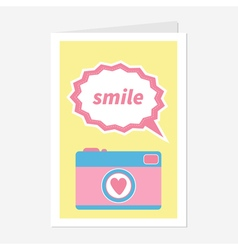 Photo camera in flat design style pink heart text vector