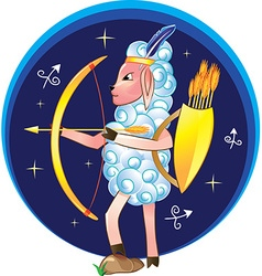 Sagittarius with bow and arrows vector
