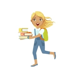 School girl with books running to class vector