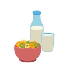 Semolina porridge cornflakes and milk vector
