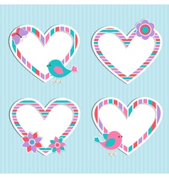 Set of cute frames hearts vector image vector image