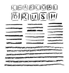 set of grunge charcoal brush strokes for your vector image