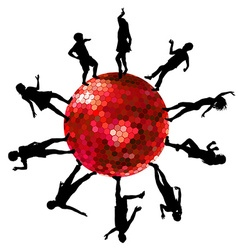 Silhouettes of people dancing on a disco ball vector