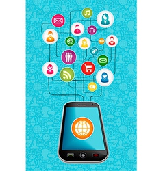 Social media network mobile diagram vector