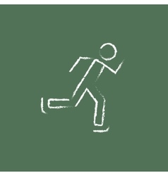 Speed skating icon drawn in chalk vector