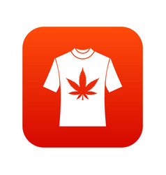t-shirt with print of cannabis icon digital red vector image vector image