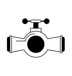 Valve and handle with pipe icon image vector