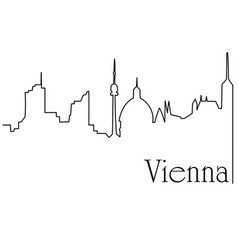 Vienna city one line drawing background vector