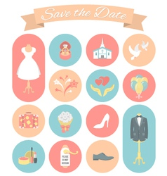 Wedding icons round set 2 vector