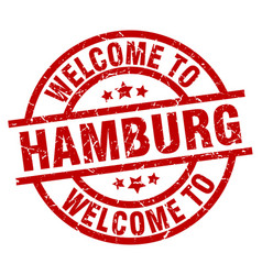 Welcome to hamburg red stamp vector