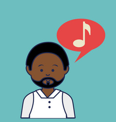 Young african man avatar character with speech vector