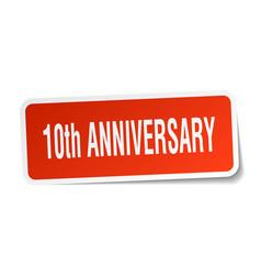 10th anniversary square sticker on white vector