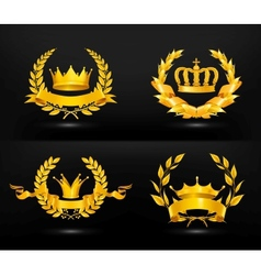 Vintage emblem set on black vector