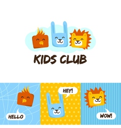 Kids club logo with animals cute kindergarten and vector