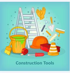Building process concept tools cartoon style vector