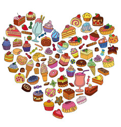Set of different sweets in the shape of heart vector
