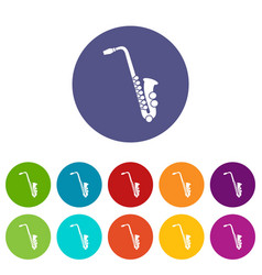 saxophone set icons vector image