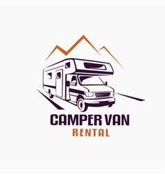 Camper van outlined sketch emblem and label vector