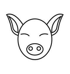 Thin line pig icon vector