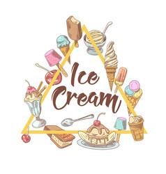 Ice cream hand drawn vintage menu design vector