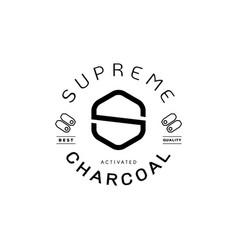 Supreme charcoal guarantee logo with charcoal icon vector