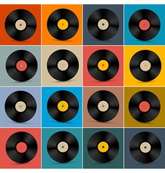 Retro vintage vinyl record disc set on colorful vector