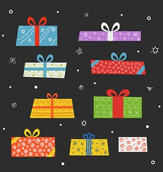 Different color gift boxes set vector
