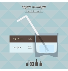 Black russian cocktail flat style isometric vector
