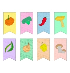 Vegetables on flags vector