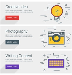 Creative idea photography writing content line art vector