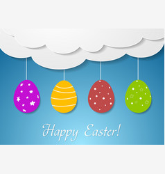 Flat design with easter eggs and clouds vector