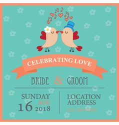 Wedding invitation with birds vector