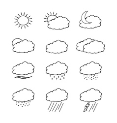 Hand-drawn weather icons set isolated on white vector