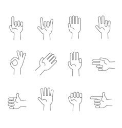 Hands line icons set vector image