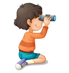 Boy using binoculars vector image
