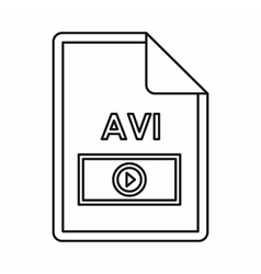 Avi video file extension icon outline style vector